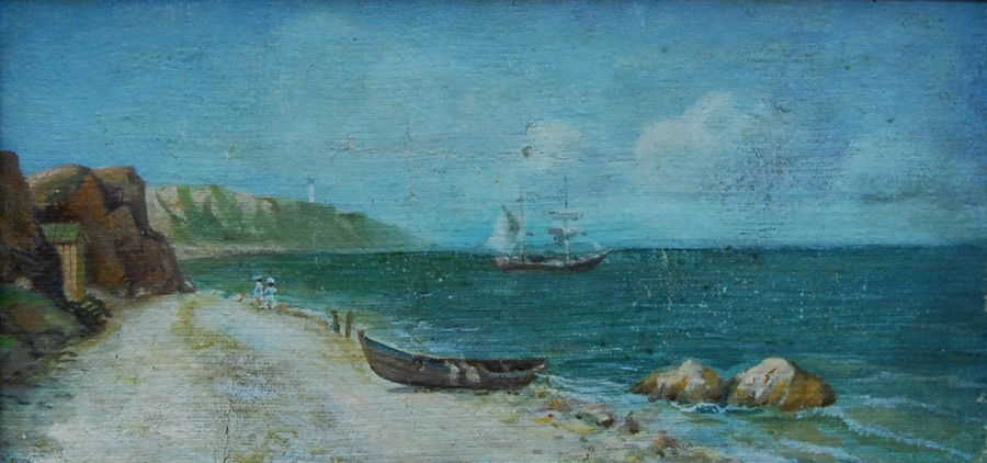 Romanticism Oil painting Coast Near Odessa by A. Popov