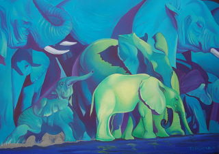 African  artwork Blue Dream by Tatyana Binovska