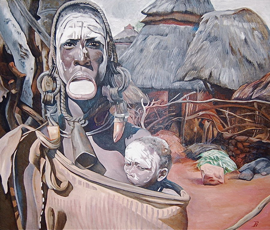 African Oil painting Mother by Tatyana Binovska