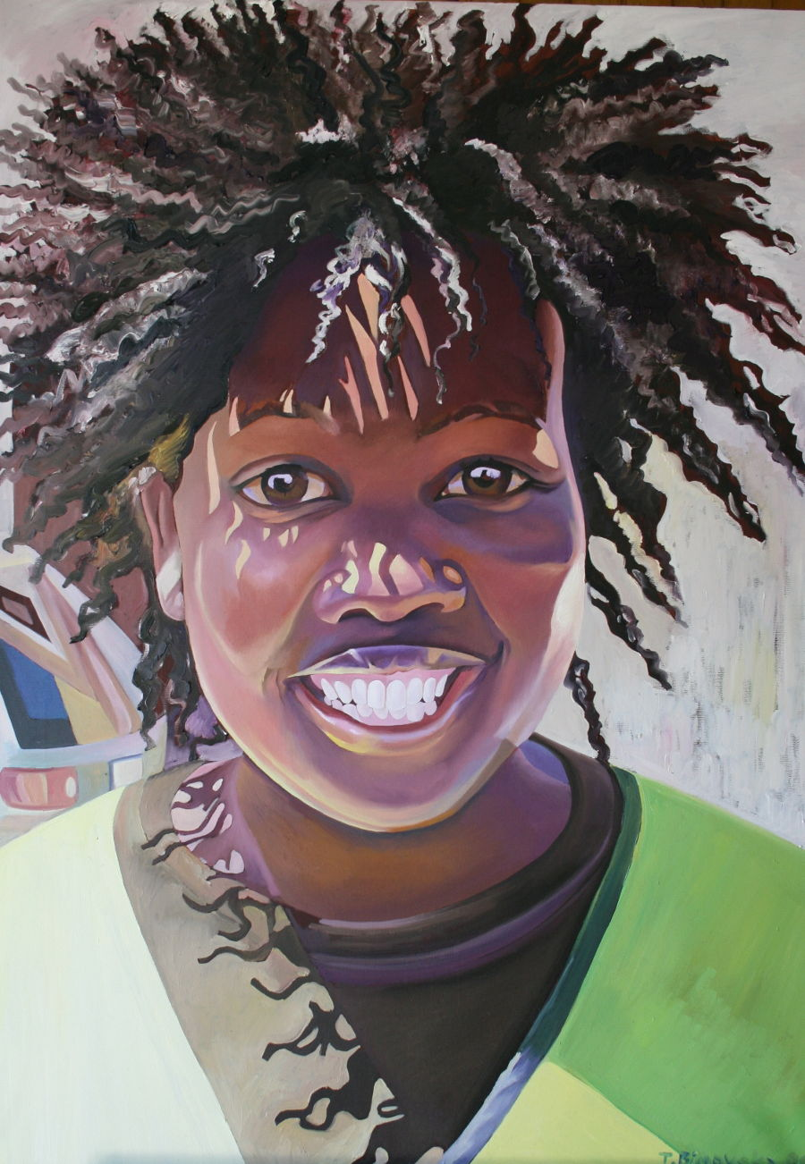 African Oil painting Parking Girl by Tatyana Binovska