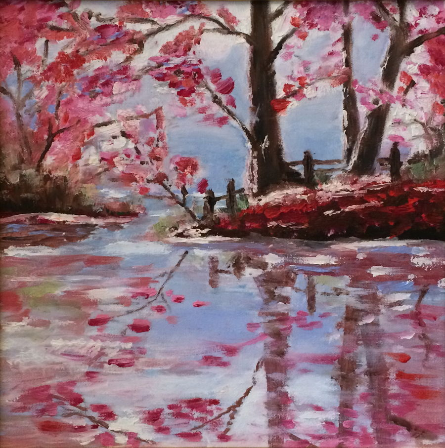 Impressionism Mixed Media painting Blooming river by Vera Tsepkova