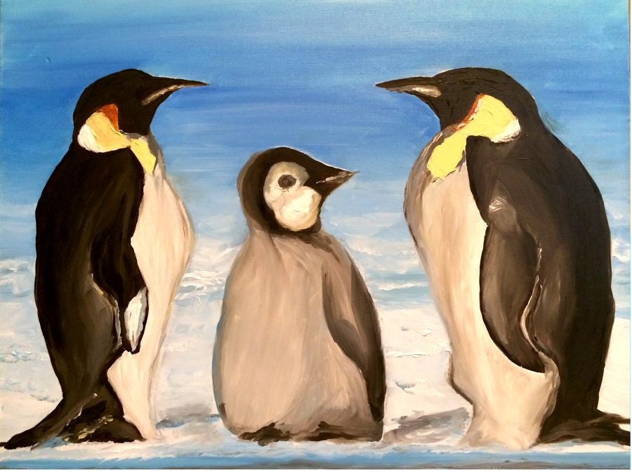 Photorealism Oil painting Penguins by Vera Tsepkova
