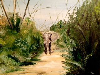 African  artwork South African elephant by Vera Tsepkova