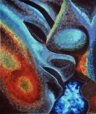 Abstract  artwork Kiss by Elena Sense