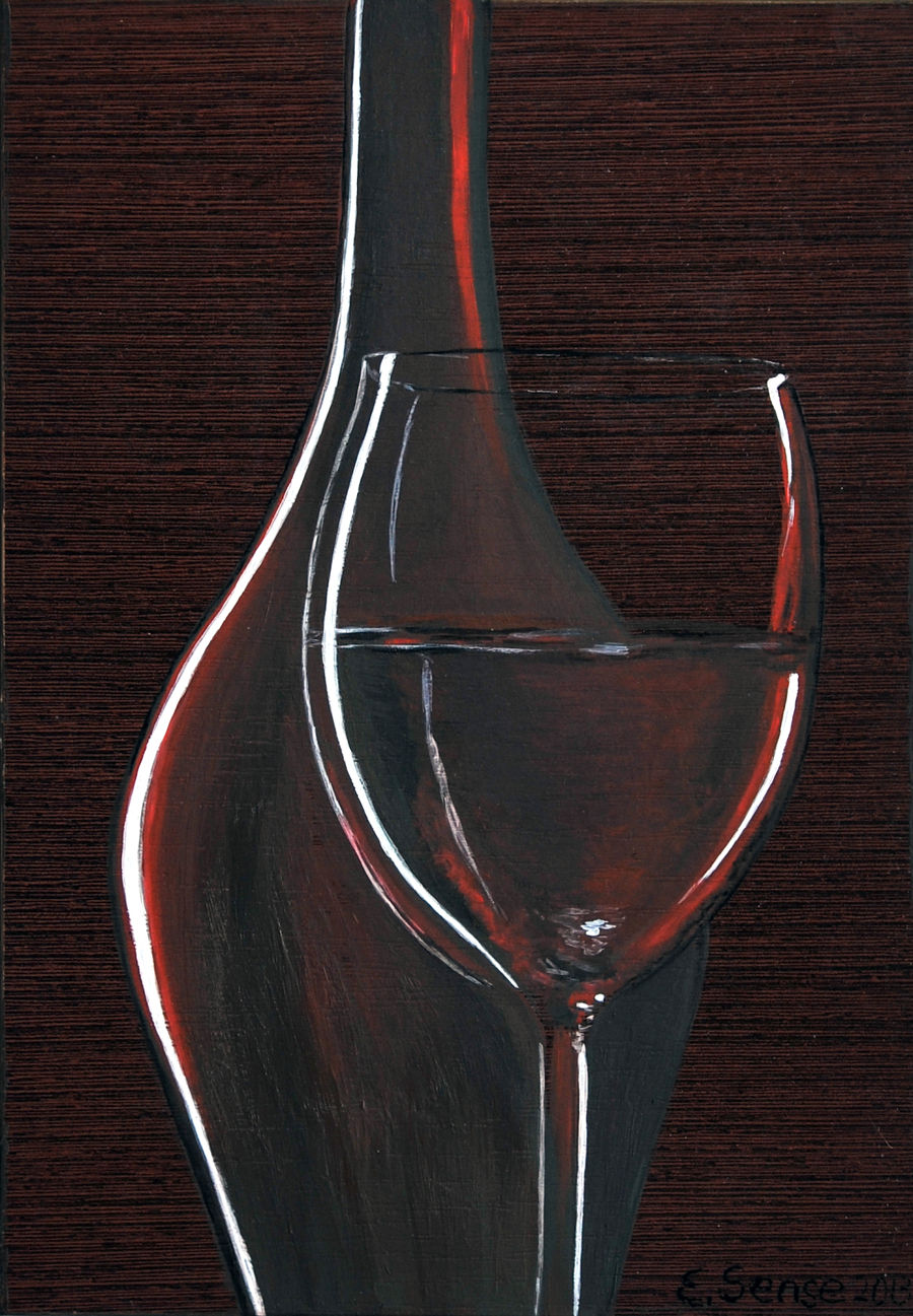 Contemporary Oil painting Magic of Wine by Elena Sense