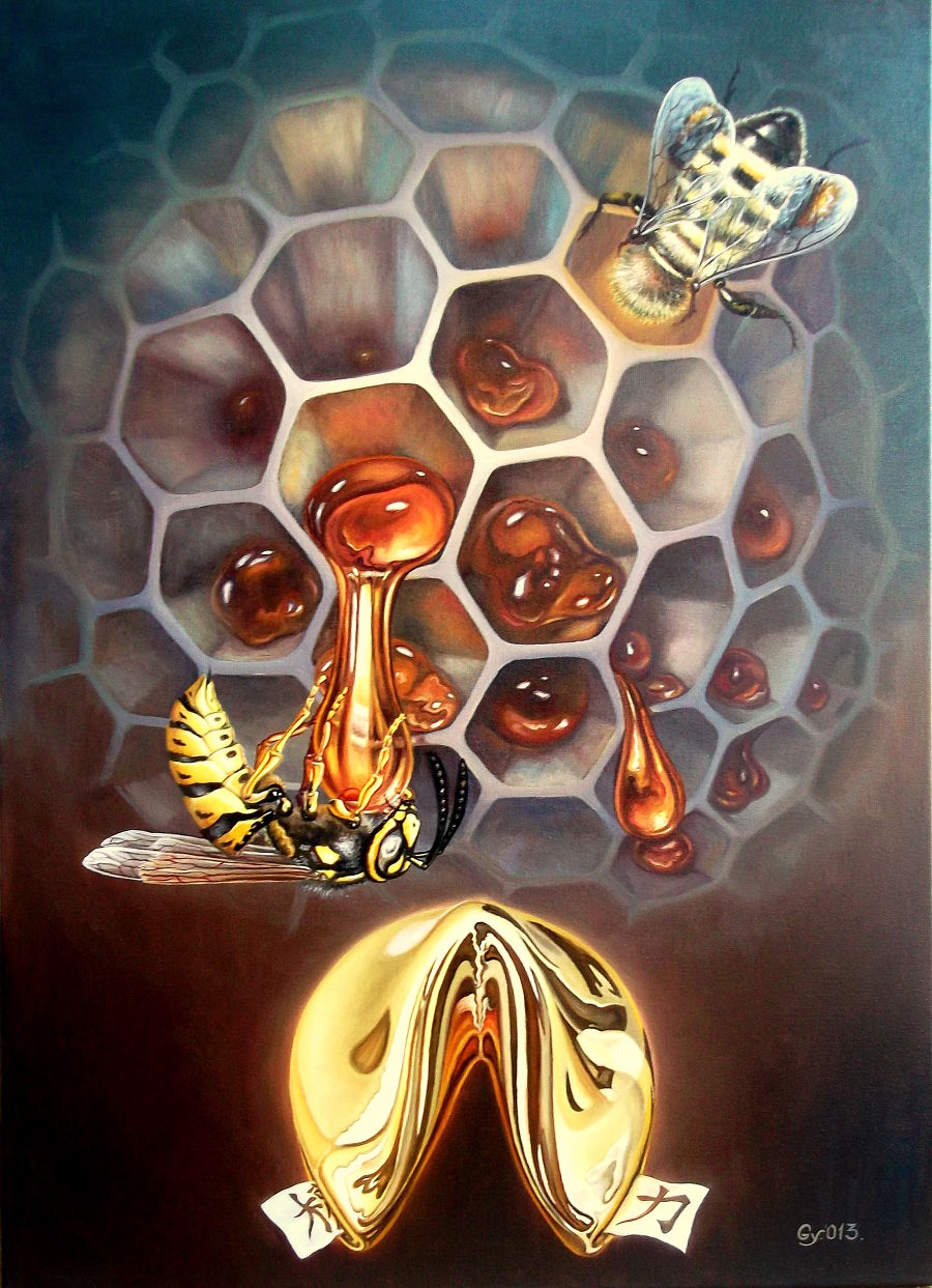 Surrealism Oil painting Gold Sweeter Than Honey by Gyuri Lohmuller