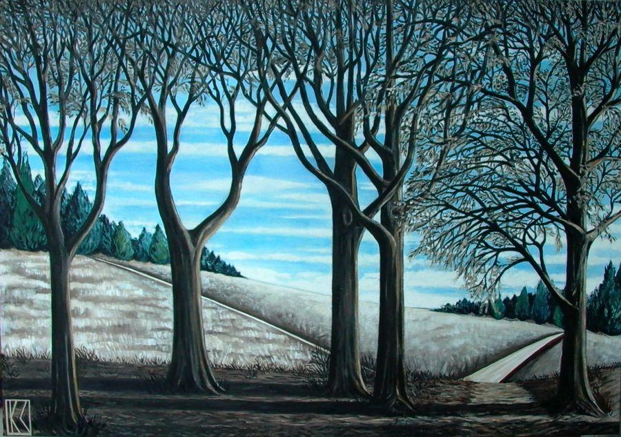 Contemporary Oil painting Heath Trees by Karen Lynn
