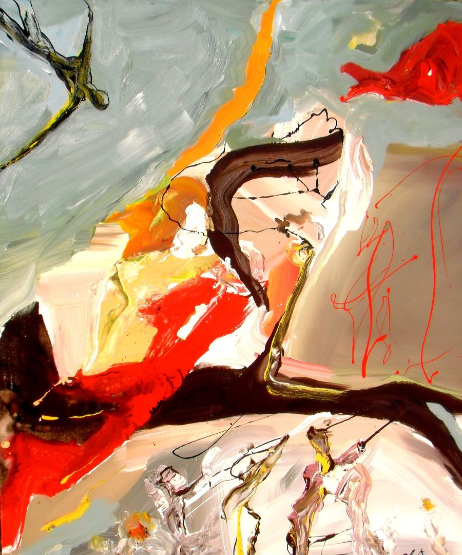 Abst. Expressionism Mixed Media painting Matter and Spirit by Gisela Gaffoglio