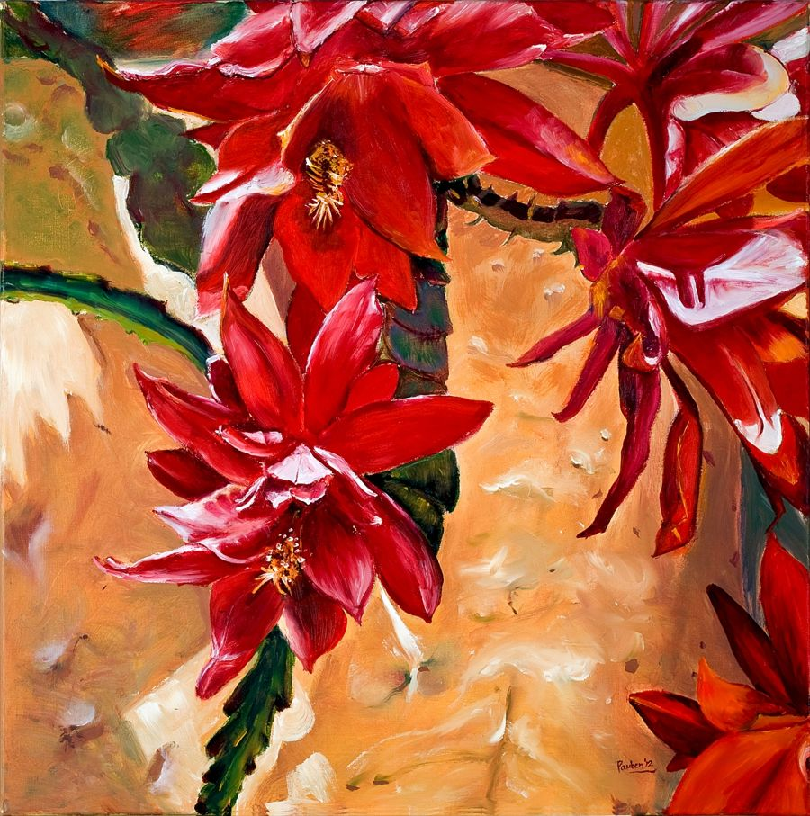 Realism Oil painting Succulent Flower by Pauleen Micallef