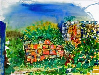 Impressionism  artwork The Rubble Wall by Pauleen Micallef