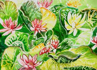 Modern  artwork Floating Lillies by Pauleen Micallef