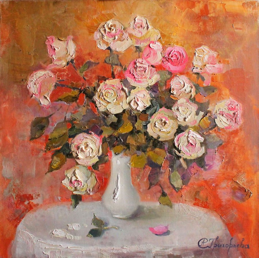 Impressionism Oil painting Roses in February by Anastasiia Grygorieva