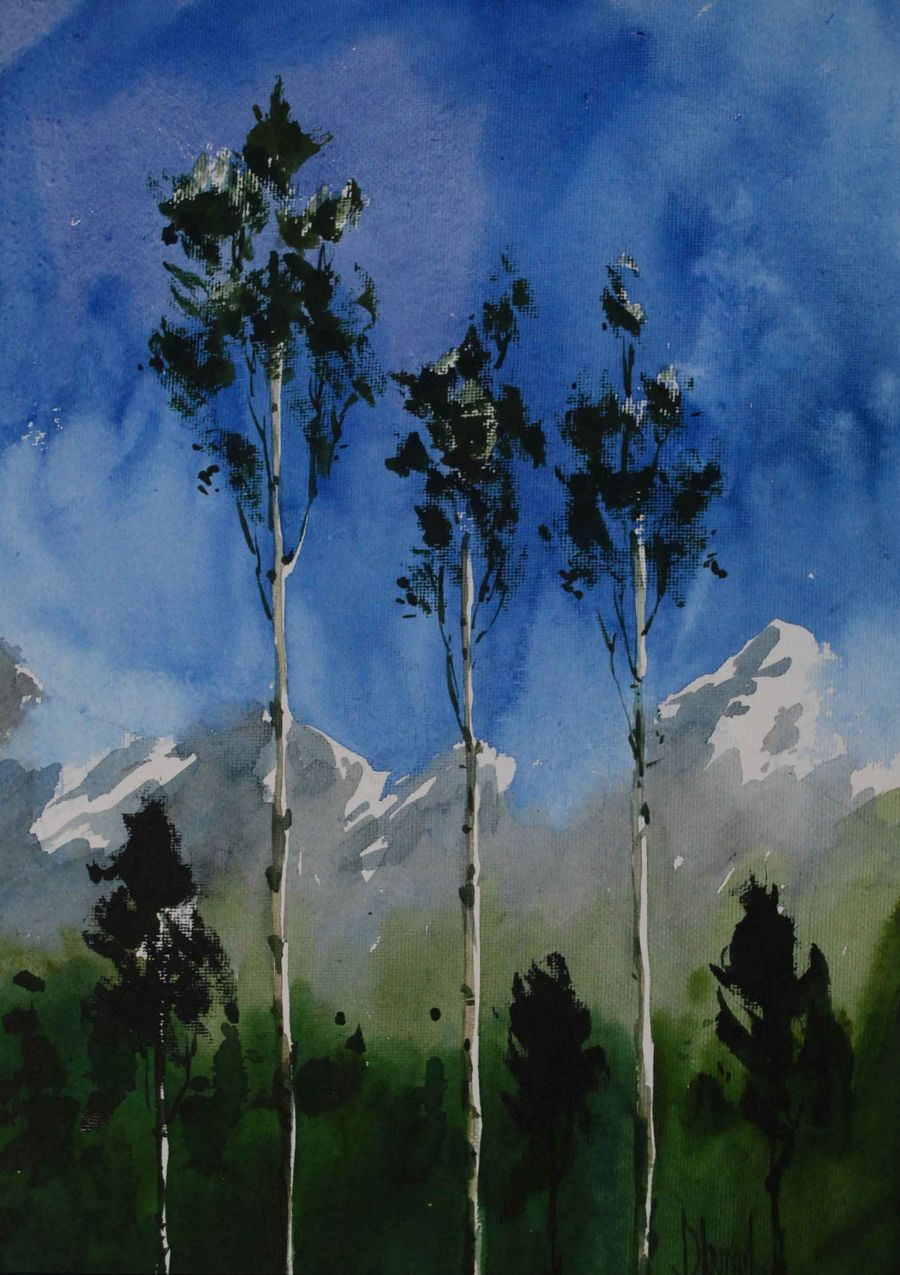 Expressionism Watercollor painting Higher then Himalaya by Sharad Tawade