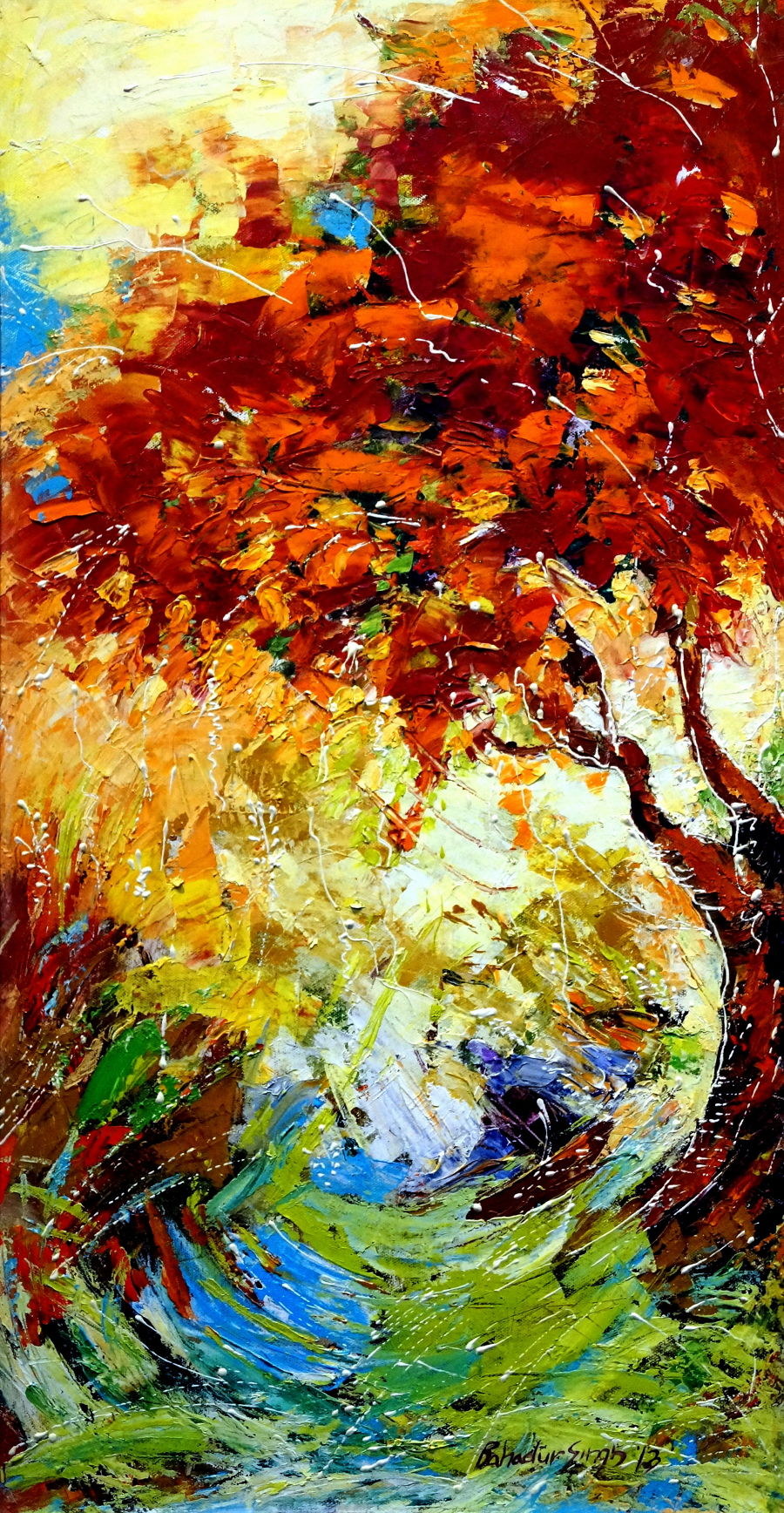 Abstract Oil painting Nature 3 by Bahadur Singh