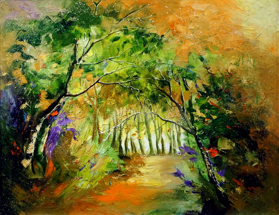 Abstract Oil painting Inside Nature by Bahadur Singh