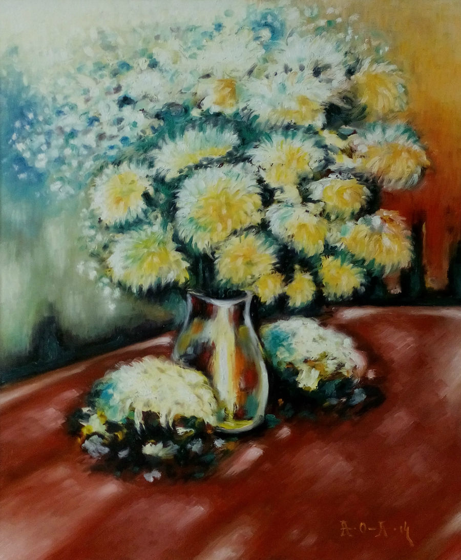 Neo Classical Oil painting Colored Vase by Aleksandr Ostrovskiy