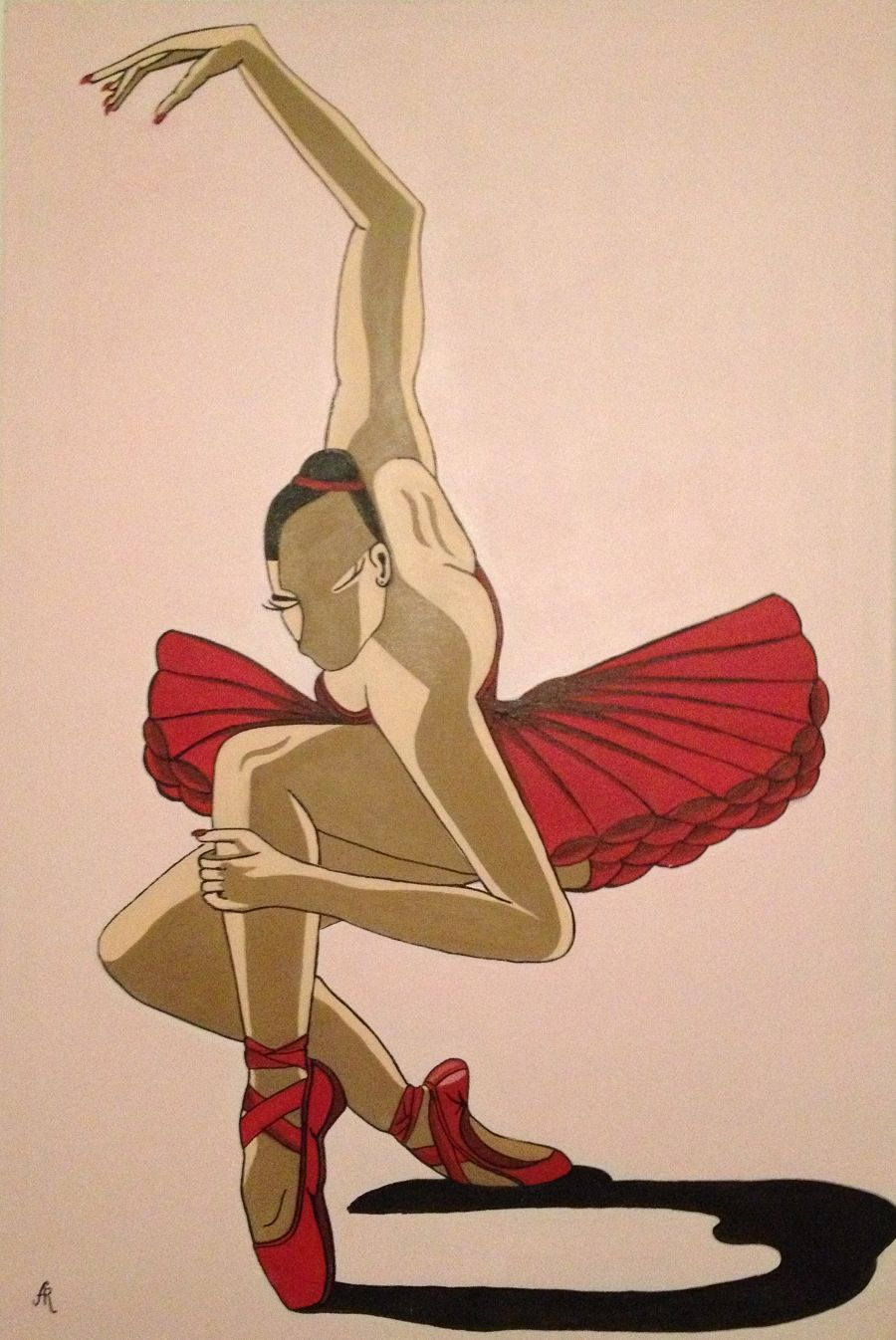 Contemporary Acrylic painting Red Balerina by Anna Rocheta