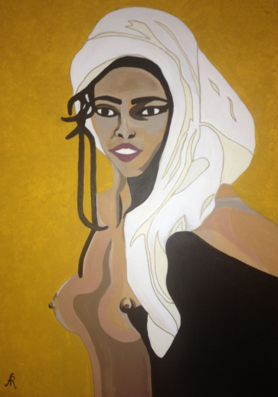Contemporary Acrylic painting Golden Black by Anna Rocheta