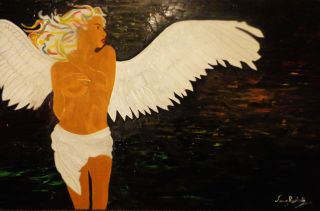 Contemporary  artwork Golden Angel by Anna Rocheta