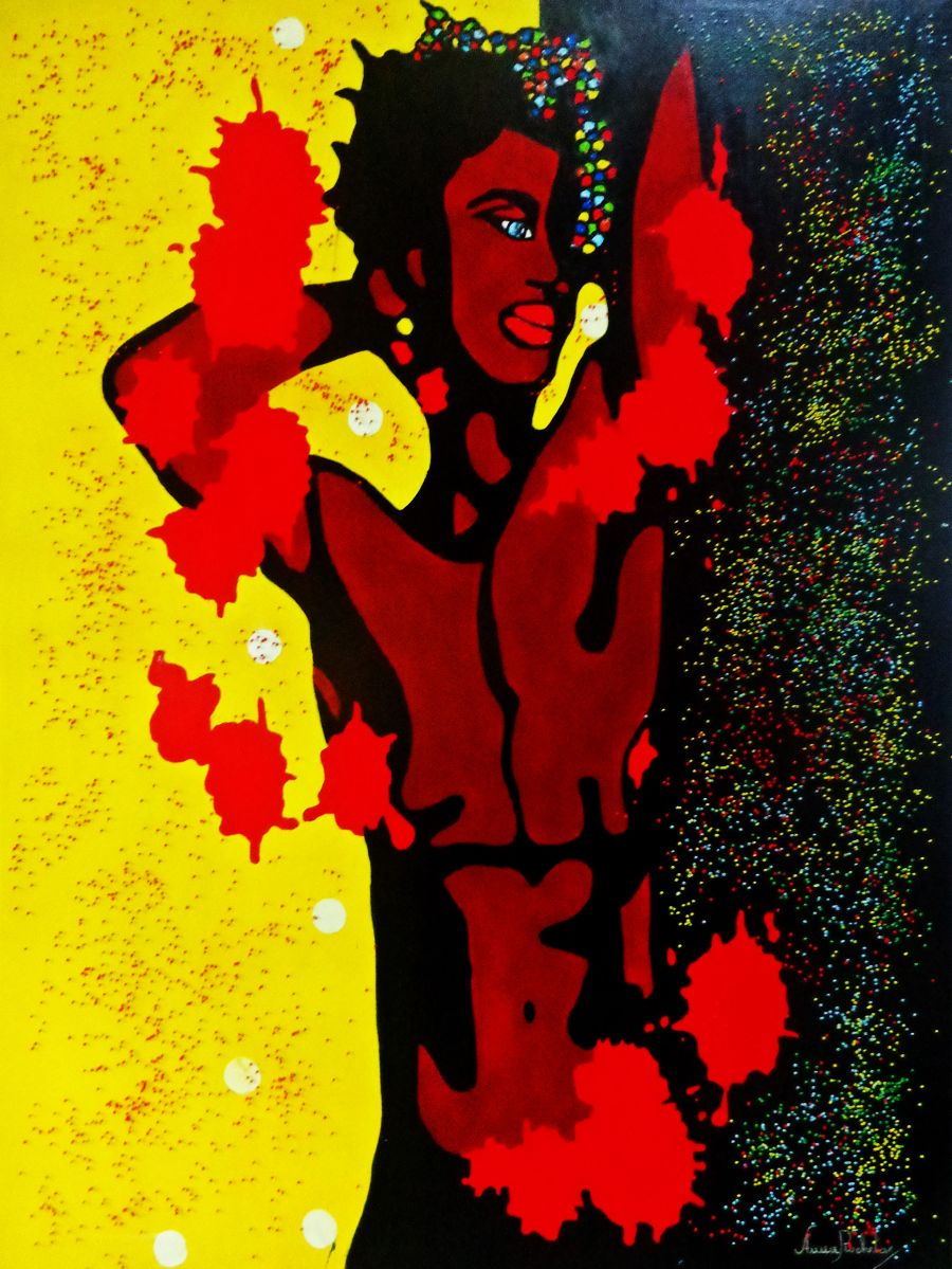 African Acrylic painting Sensuality by Anna Rocheta
