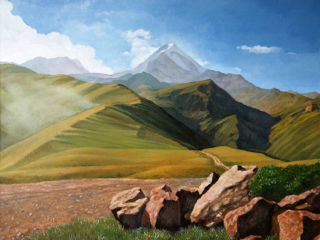 Realism  artwork Kazbek. View from Gergeti monastery by Alan Albeg