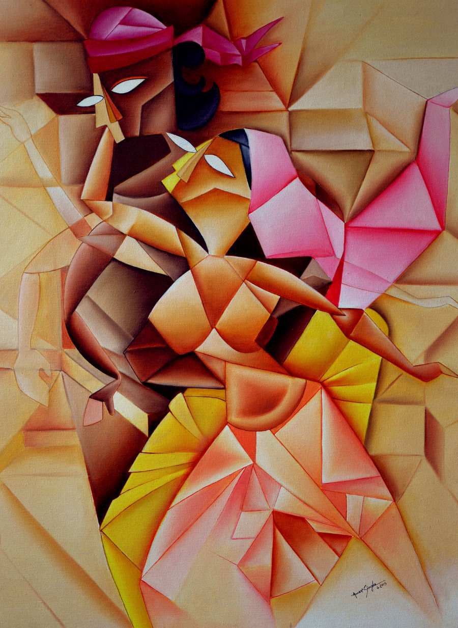Cubism Oil painting DANCE by Amar Singha
