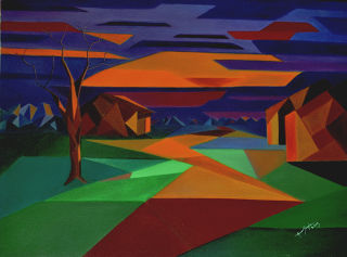 Cubism  artwork An Evening In Lonely Village by Amar Singha
