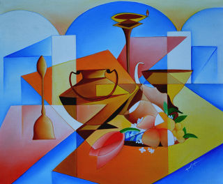 Cubism  artwork Arrangement Of Worship by Amar Singha