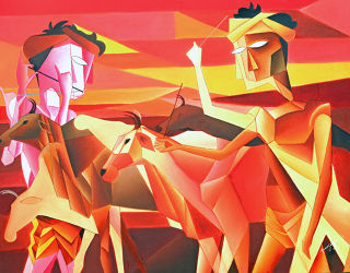 Cubism  artwork Returning 1 by Amar Singha
