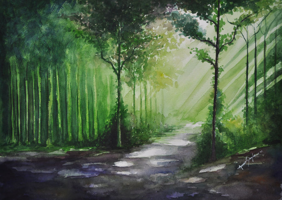 Illustration Watercollor painting Light of the forest by Amar Singha