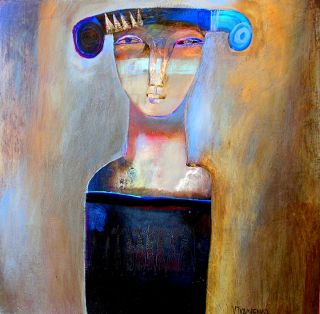 Contemporary  artwork Blue Hat by Victor Tkachenko