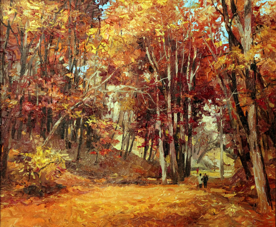 Realism Oil painting Fall in the Park by viktor zhmak