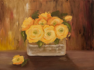 Modern  artwork Yellow roses by Yuliana Fomenko