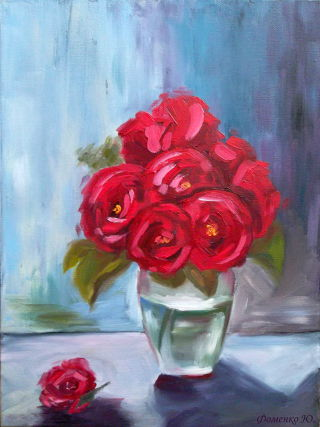 Modern  artwork The roses are red by Yuliana Fomenko