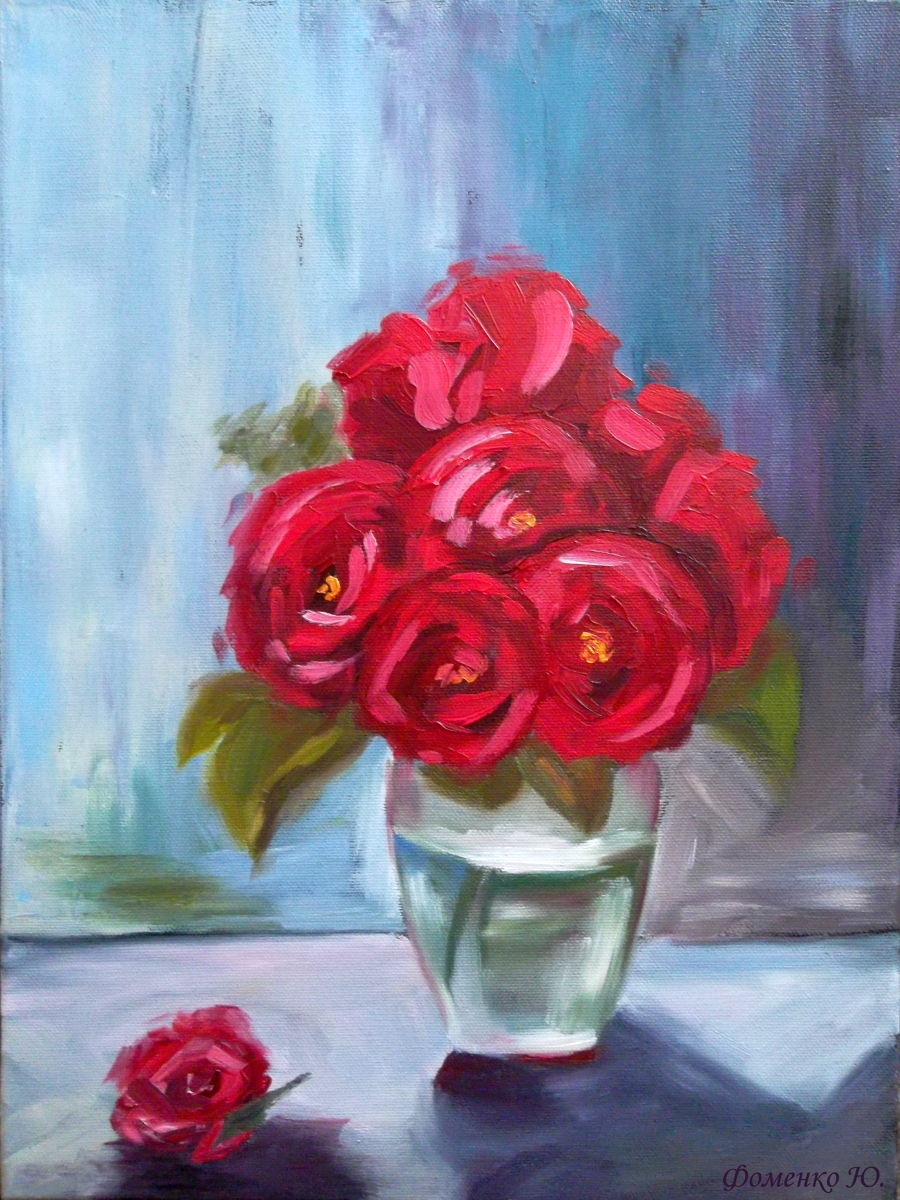 Modern Oil painting The roses are red by Yuliana Fomenko