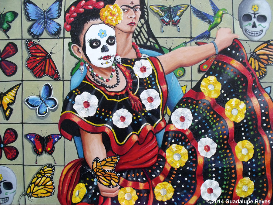 Figurative Oil painting Viva la vida con Frida Kahlo by Guadalupe Reyes