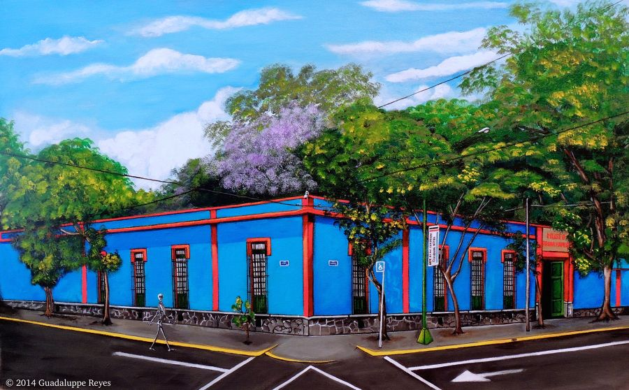 Contemporary Acrylic painting El Museo Azul by Guadalupe Reyes