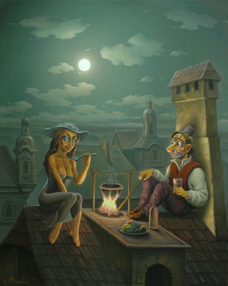Illustration Oil painting Romantic dinner by Anatoly Kozelskiy