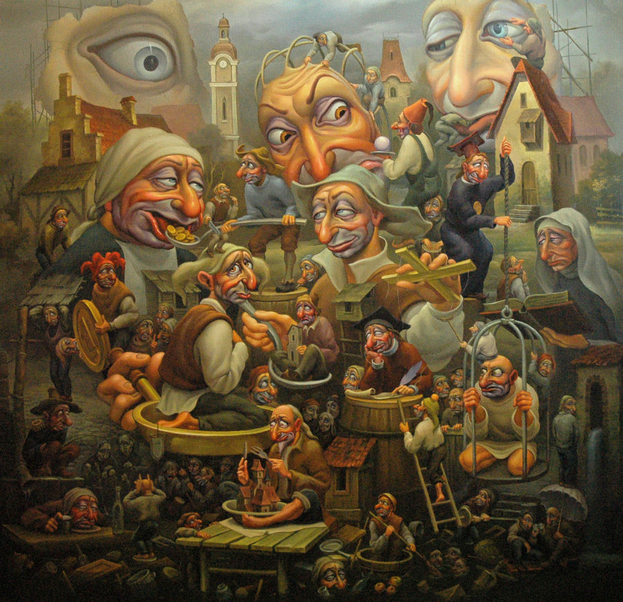 Surrealism Oil painting Hierarchy by Anatoly Kozelskiy