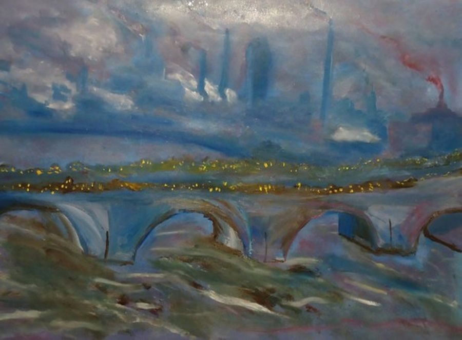 Impressionism Oil painting Waterloo Bridge by Alexander Poruchikov