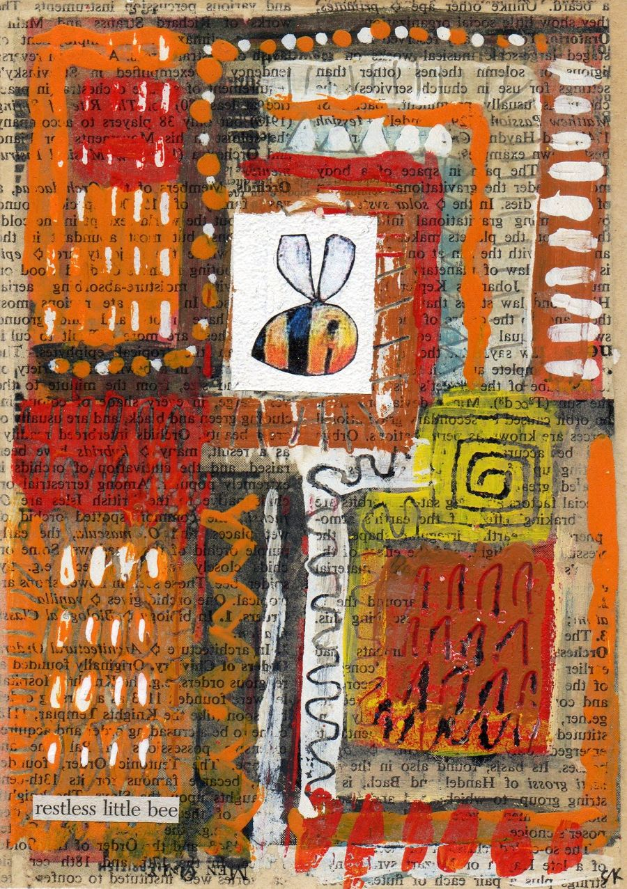 Abstract Mixed Media painting Restless Little Bee by Simon Kirk
