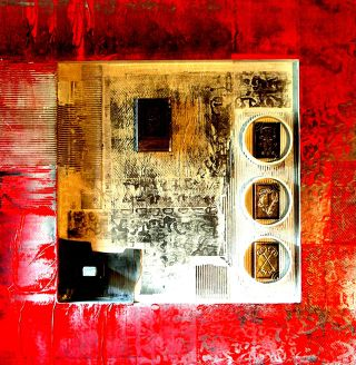 Abstract  artwork Red White and Matters of Grey 6 by Vivek Rao