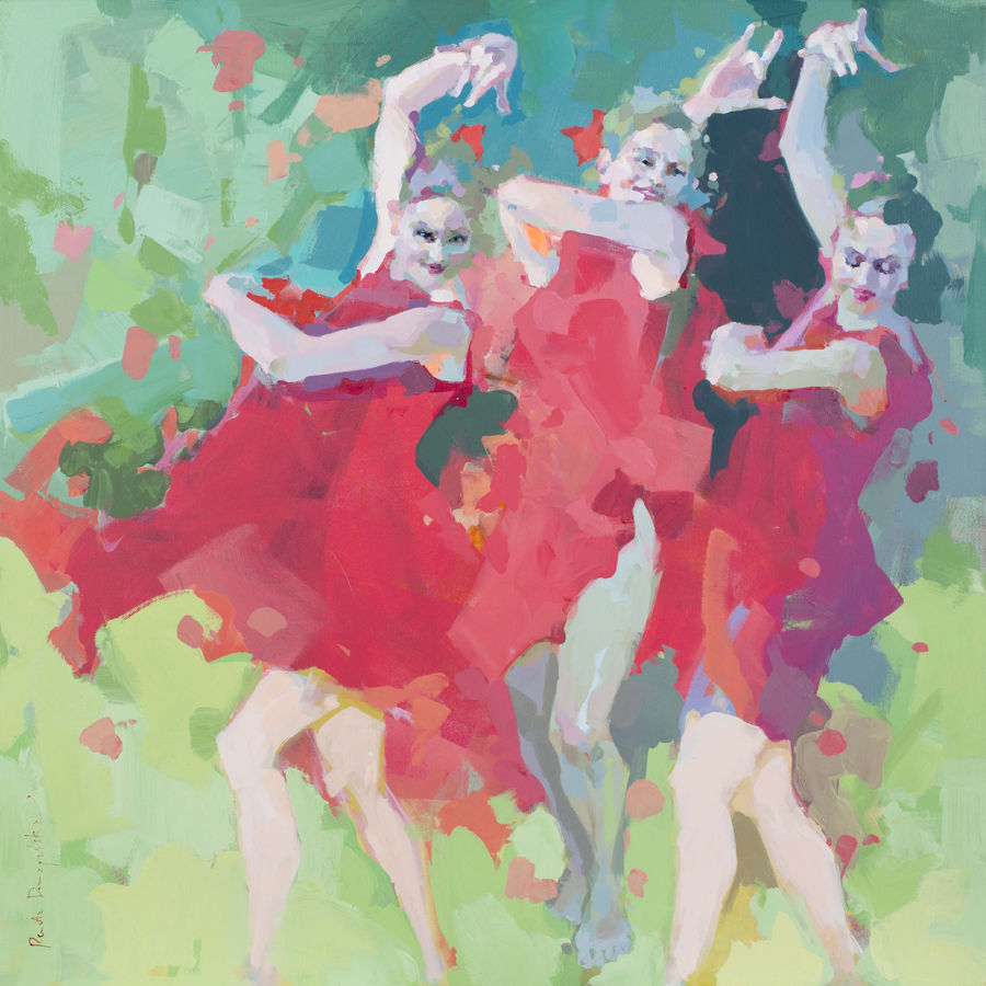 Expressionism Acrylic painting Naughty girls dancing barefoot by Renata Domagalska