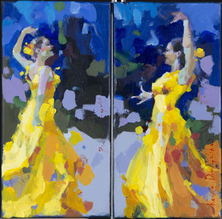 Folk Art  artwork Yellow curtains - diptych by Renata Domagalska