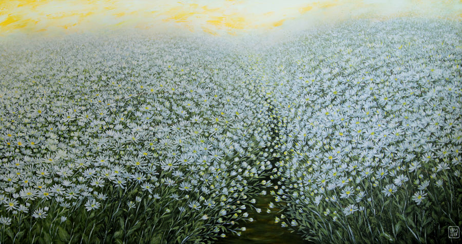 Impressionism Acrylic painting White Flowers Season by Lam Nguyen