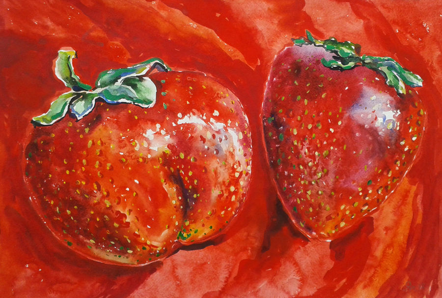 Modern Watercollor painting Strawberries by Alyona Yaroshenko