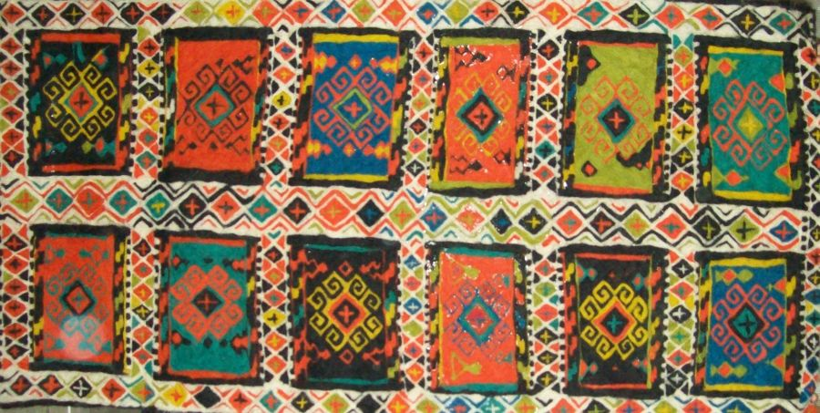Folk Art Textile painting Georgian national carpet by Ana Lagidze