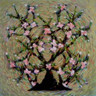 Eastern  artwork Flowering almond by Sanan Samedov