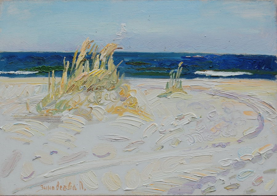 Realism Oil painting Strip of blue sea by Polina Zinoveeva