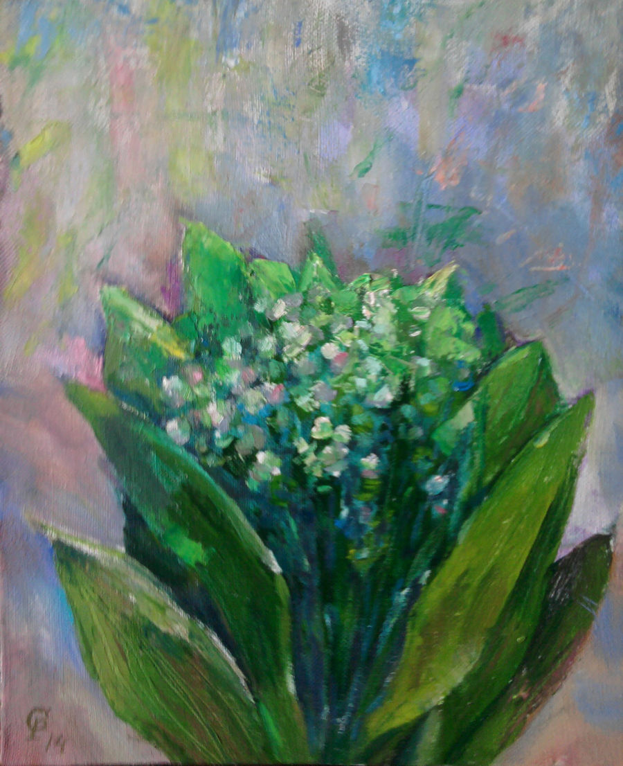 Impressionism Oil painting Lily of the valley by sergienko roman